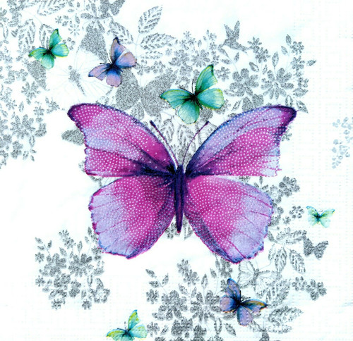 4 Lunch Paper Napkins for Decoupage Party Table Craft Vintage Ivy Butterflies