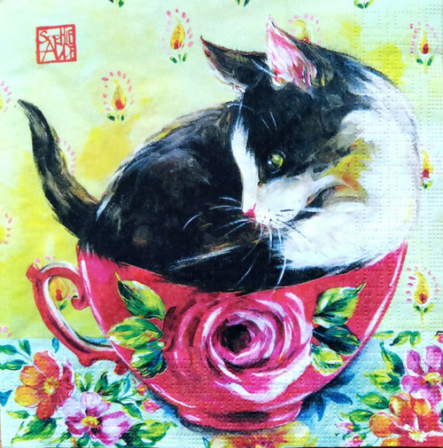 4 Lunch Paper Napkins for Decoupage Party Table Craft Vintage Cat in a Teacup
