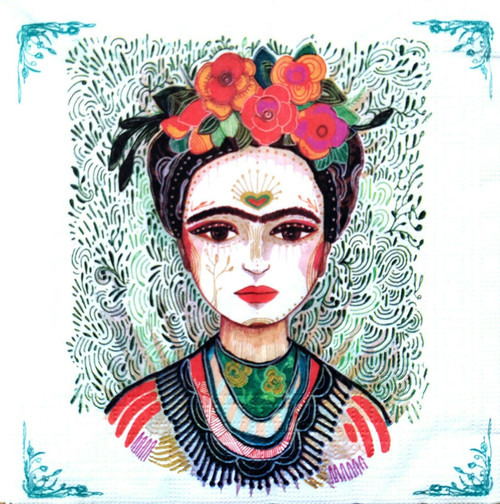 4 Lunch Paper Napkins for Decoupage Party Table Craft Vintage Floral Frida Kahlo