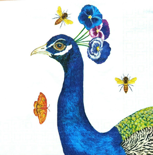 4 Lunch Paper Napkins for Decoupage Party Table Craft Vintage Blue Peacock