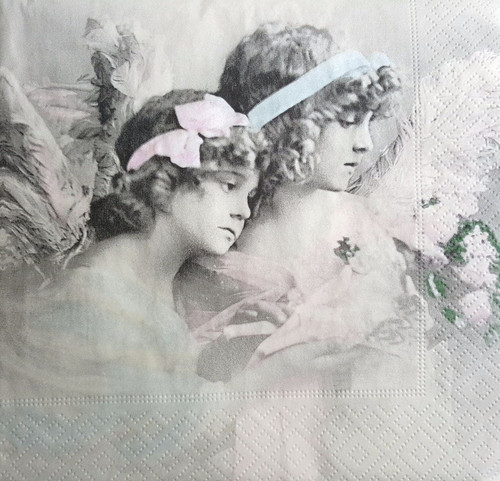 4 Single Paper Napkins, for Decoupage, Lunch, Napkin, Vintage, Craft, Angels M