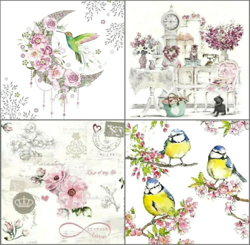 4 Different Vintage Table Paper Napkins for Party Lunch Decoupage Flowers Lands