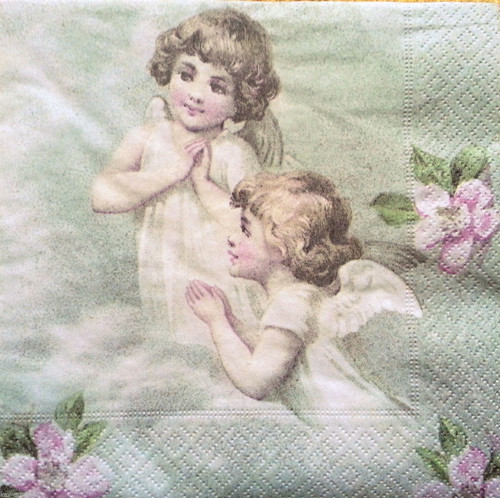 4 Single Vintage Table Paper Napkins Decoupage Lunch Decopatch Sagen Angels