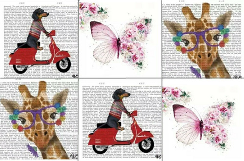 6 Different Cocktail Paper Napkins (25cm x 25cm) for Decoupage Animals mix 3