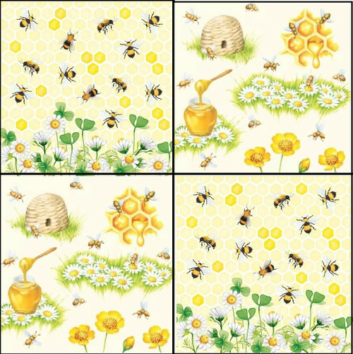 4 Different Lunch Paper Napkins for Decoupage Party Table Craft Vintage Bees