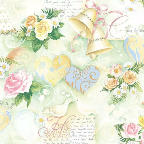 4 Lunch Paper Napkins for Decoupage Party Table Craft Vintage Wedding Bells