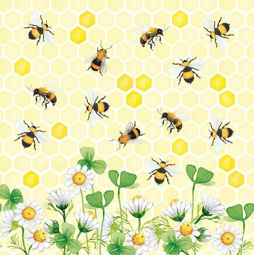 4 Lunch Paper Napkins for Decoupage Party Table Craft Vintage Yellow Bee Land 1