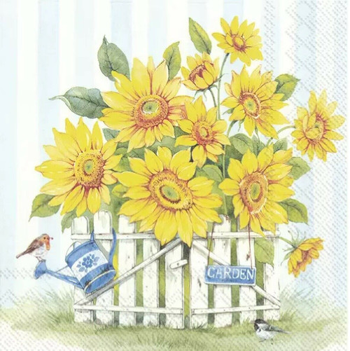 4 Lunch Paper Napkins for Decoupage Party Table Craft Vintage Sunflower Yellow