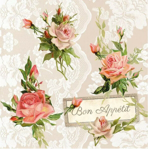 4 Lunch Paper Napkins for Decoupage Party Table Craft Vintage Roses on Lace