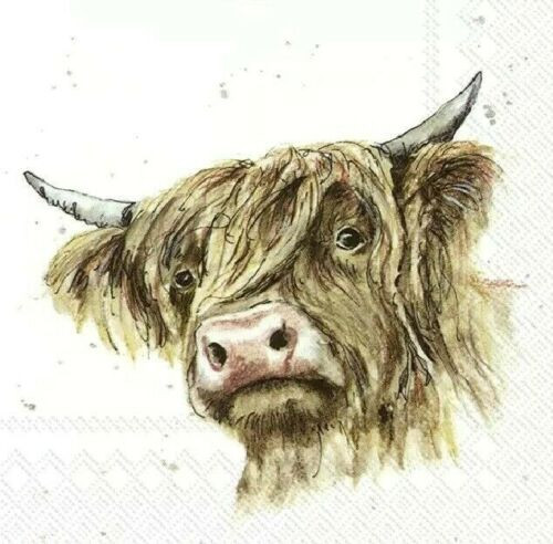 4 Lunch Paper Napkins for Decoupage Party Table Craft Vintage  Highland Cow
