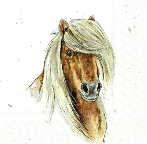 4 Lunch Paper Napkins for Decoupage Party Table Craft Vintage - I am sweet Horse