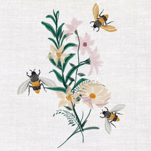 4  Lunch Paper Napkins for Decoupage Party Table Craft Vintage  -  Floral Bees