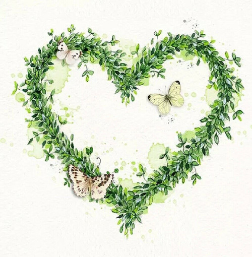4  Lunch Paper Napkins for Decoupage Party Table Craft Vintage  - Green Dream Heart