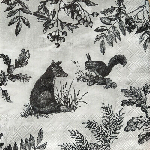 4 Lunch Paper Napkins for Decoupage Party Table Craft Vintage Forest Animals