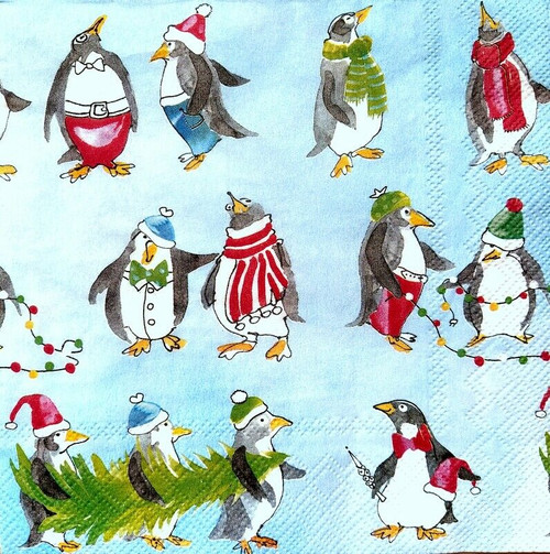 4 Lunch Paper Napkins for Decoupage Party Table Craft Vintage Funny Penguins