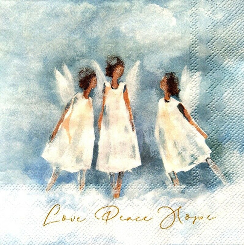 4 Lunch Paper Napkins for Decoupage Party Table Craft Vintage Angels Love Peace