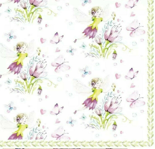 4 Lunch Paper Napkins for Decoupage Party Table Craft Vintage Elfes Papillons Your image was added to the product.