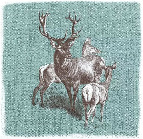 4 Lunch Paper Napkins for Decoupage Party Table Craft Vintage Deer Family