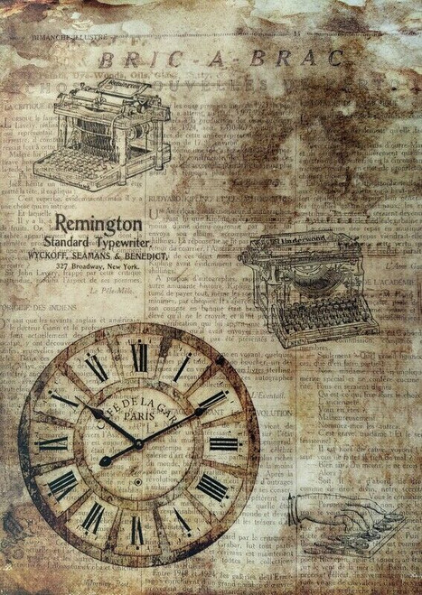 Rice Paper for Decoupage Craft Vintage, Sheet A4 - Steampunk Clock
