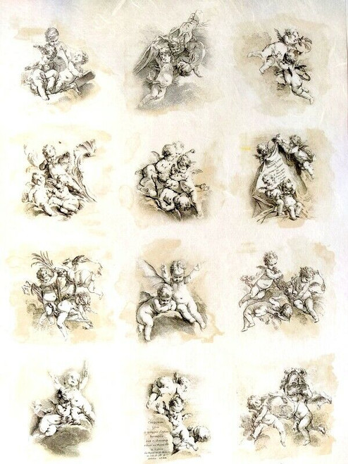 Rice Paper for Decoupage Craft Vintage, Sheet A4 - Angels