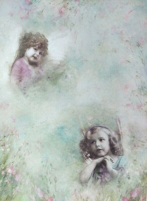 Rice Paper for Decoupage Craft Vintage, Sheet A4 - Girls, Child, Angels