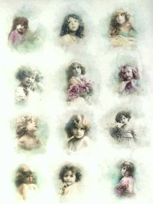 Rice Paper for Decoupage Craft Vintage, Sheet A4 - Girls, Child Pictures
