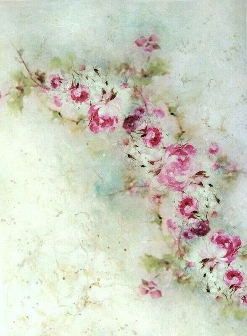 Rice Paper for Decoupage Craft Vintage, Sheet A4 -Pink Flowers Ivy