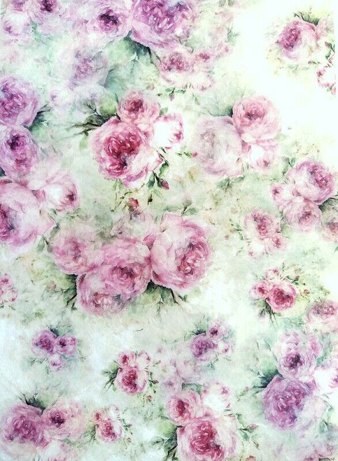 Rice Paper for Decoupage Craft Vintage, Sheet A4 -Pink Peony, Flowers 1