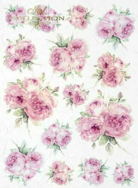 Rice Paper for Decoupage Craft Vintage, Sheet A4 - Pink Peony , Flowers 2
