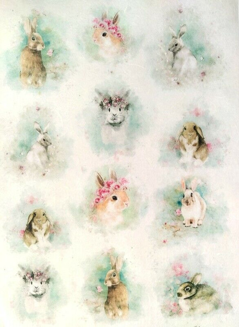 Rice Paper for Decoupage Craft Vintage, Sheet A4 - Floral Little Rabbits