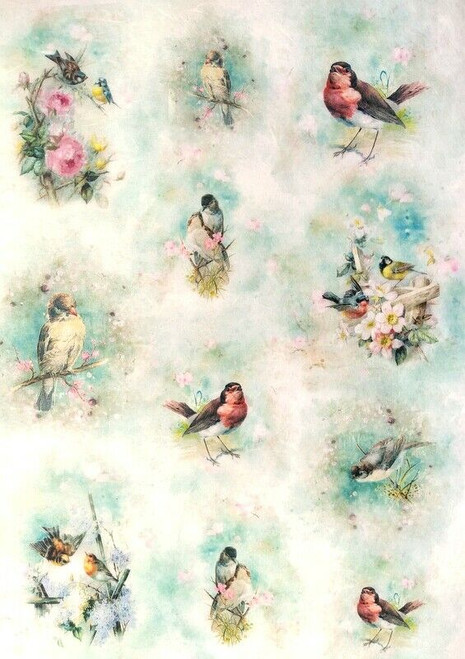 Rice Paper for Decoupage Craft Vintage, Sheet A4 - Floral Little Birds
