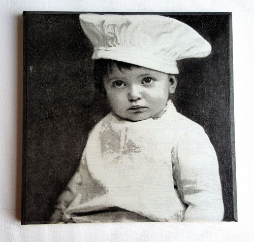 Wall Picture Plaque Vintage Retro Style Handmade Decoupage, Little Cook, Boy