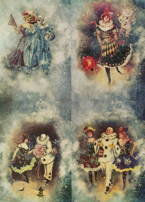 Rice Paper for Decoupage Craft Vintage, Sheet A4 - Pierrot and Columbine