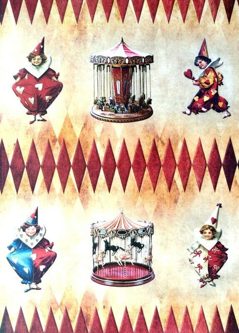 Rice Paper for Decoupage Craft Vintage, Sheet A4 - Circus, carousel, clown