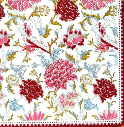 4 Lunch Paper Napkins for Decoupage Party Table Craft Vintage Floral Ivy, Folk, Flower