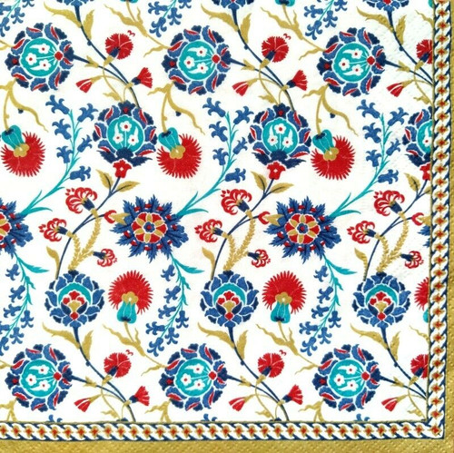 4 Lunch Paper Napkins for Decoupage Party Table Craft Vintage Floral Ivy, Folk, Blue
