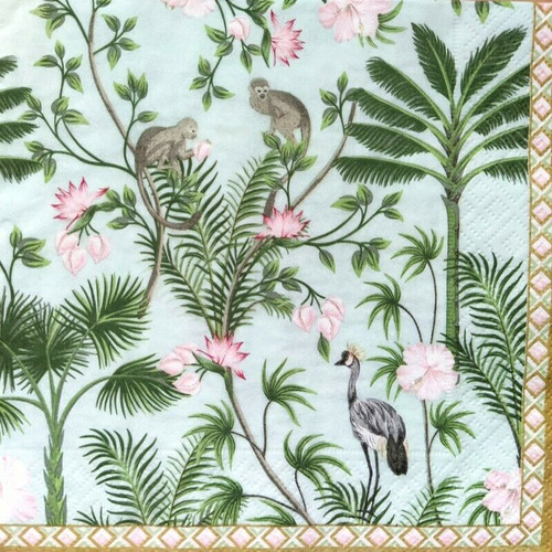 4 Lunch Paper Napkins for Decoupage Party Table Craft Vintage Vintage Floral, Monkey, Tropic