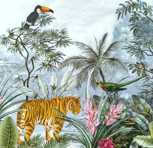 4 Lunch Paper Napkins for Decoupage Party Table Craft Vintage Jungle Animals , Tigers