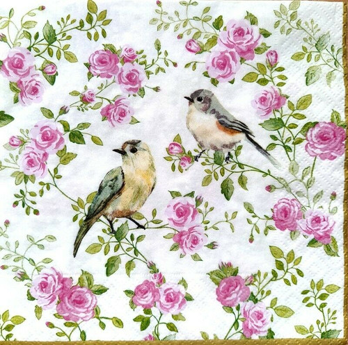 4 Lunch Paper Napkins for Decoupage Party Table Craft Vintage Birds, Pink Roses
