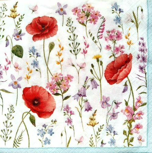 4 Lunch Paper Napkins for Decoupage Party Table Craft Vintage Poppies, Meadow, Flo