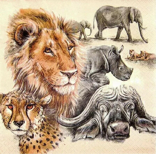 4 Lunch Paper Napkins for Decoupage Party Table Craft Vintage The Big Five Animals