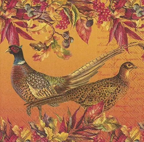 4 Lunch Paper Napkins for Decoupage Party Table Craft Vintage Golden Pheasants