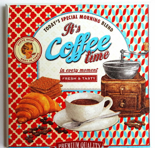 Wall Picture Plaque Vintage Retro Style Handmade Decoupage, Coffee Time, Shop