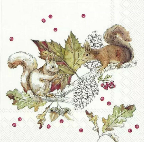 4 Lunch Paper Napkins for Decoupage Party Table Craft Vintage Squirrels and Berries