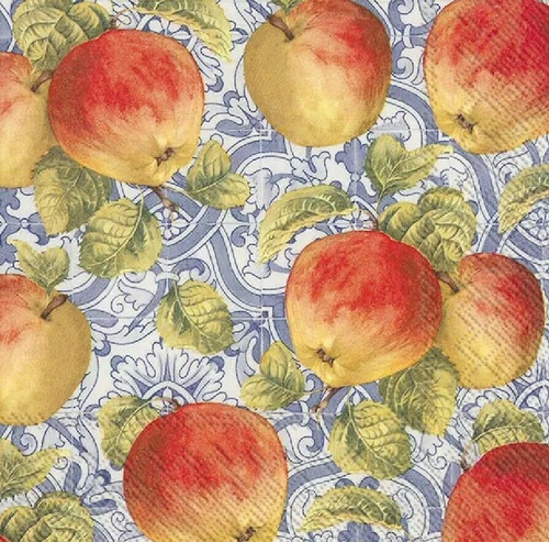 4 Lunch Paper Napkins for Decoupage Party Table Craft Vintage Apple, Blue