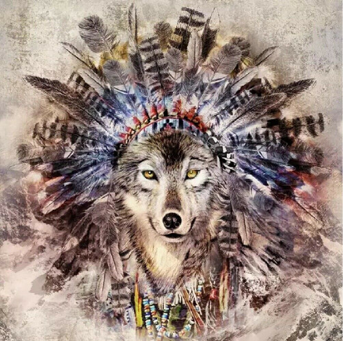 4 Lunch Paper Napkins for Decoupage Party Table Craft Vintage Magic Wolf