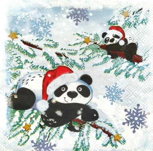 4 Lunch Paper Napkins for Decoupage Party Table Craft Vintage Pandas in Snow