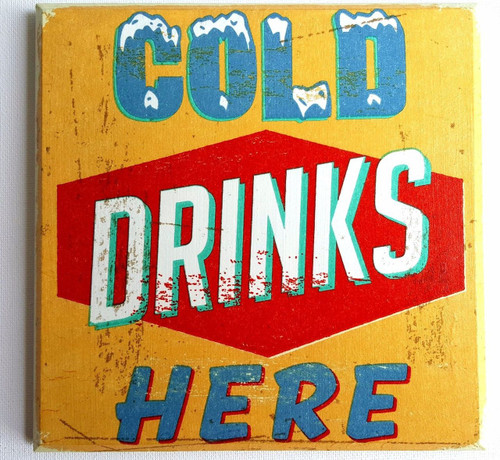 Wall Picture Plaque Vintage Retro Style Handmade, Decoupage, Cold Drinks, Pub