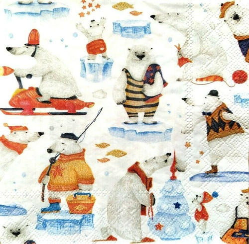 4 Lunch Paper Napkins for Decoupage Party Table Craft Vintage Artic Tales, Bears