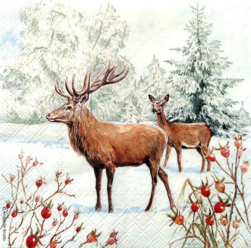 4 Lunch Paper Napkins for Decoupage Party Table Craft Vintage Deer in Snow